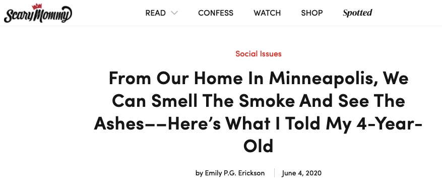 Screen grab showing Emily P.G. Erickon's byline on Scary Mommy.