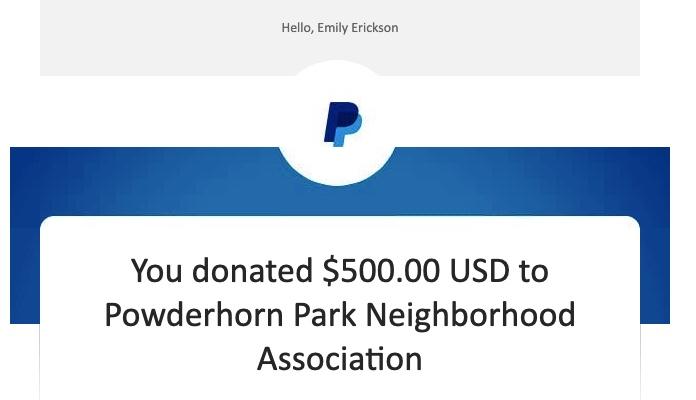 Receipt showing Emily P.G. Erickson made a $500 donation to Powderhorn Park Neighborhood Association